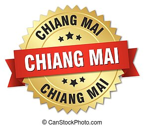 Chiang mai round golden badge with red ribbon
