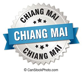 Chiang mai round silver badge with blue ribbon