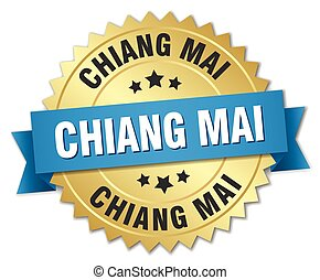 Chiang mai round golden badge with blue ribbon