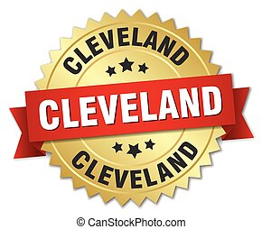 Cleveland round golden badge with red ribbon