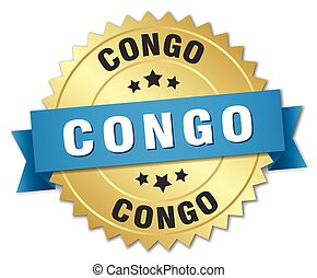 Congo round golden badge with blue ribbon