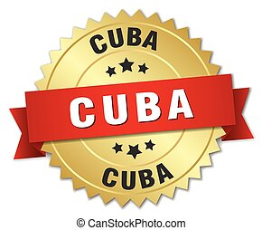 Cuba round golden badge with red ribbon