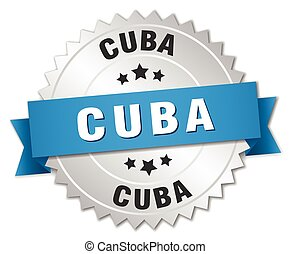 Cuba round silver badge with blue ribbon