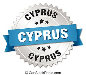 Cyprus round silver badge with blue ribbon