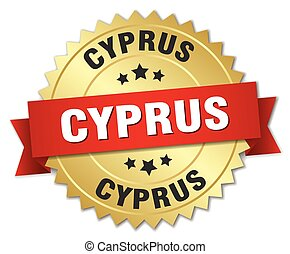 Cyprus round golden badge with red ribbon