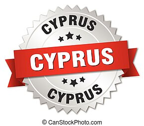 Cyprus round silver badge with red ribbon