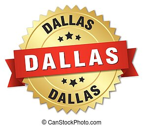 Dallas round golden badge with red ribbon