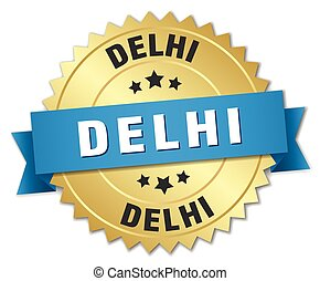 Delhi round golden badge with blue ribbon