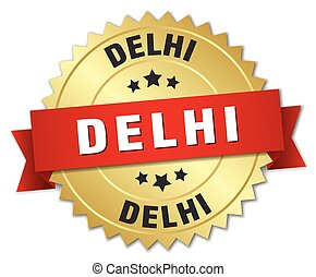 Delhi round golden badge with red ribbon