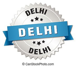 Delhi round silver badge with blue ribbon