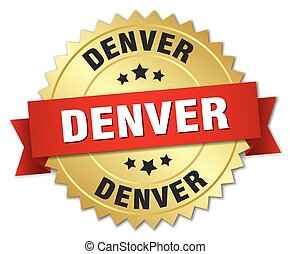 Denver round golden badge with red ribbon