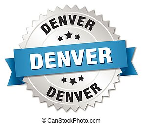 Denver round silver badge with blue ribbon