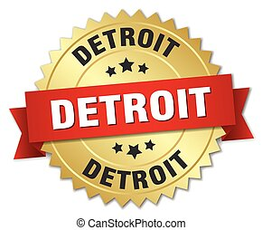 Detroit round golden badge with red ribbon