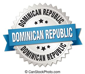 Dominican Republic round silver badge with blue ribbon