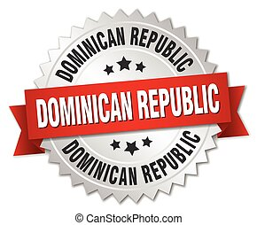 Dominican Republic round silver badge with red ribbon