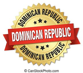 Dominican Republic round golden badge with red ribbon