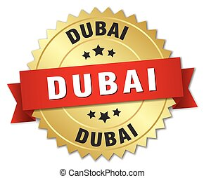 Dubai round golden badge with red ribbon