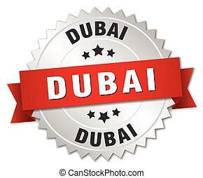 Dubai round silver badge with red ribbon