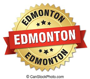 Edmonton round golden badge with red ribbon
