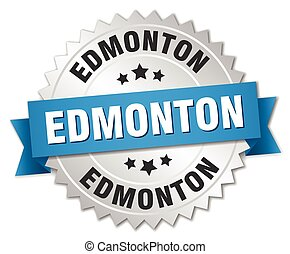 Edmonton round silver badge with blue ribbon