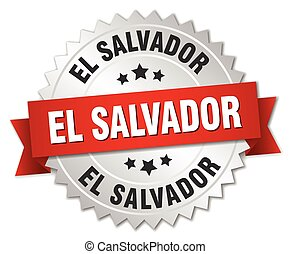 El Salvador round silver badge with red ribbon