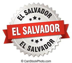 El Salvador round silver badge with red ribbon