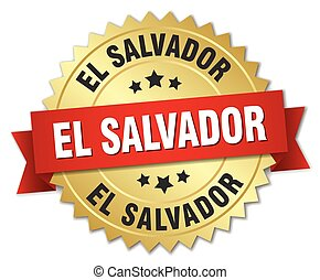 El Salvador round golden badge with red ribbon