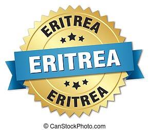 Eritrea round golden badge with blue ribbon