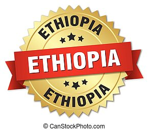 Ethiopia round golden badge with red ribbon