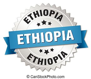 Ethiopia round silver badge with blue ribbon