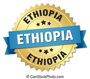 Ethiopia round golden badge with blue ribbon