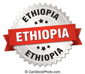 Ethiopia round silver badge with red ribbon