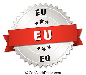 eu round silver badge with red ribbon
