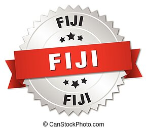 Fiji round silver badge with red ribbon - Fiji round silver...