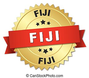 Fiji round golden badge with red ribbon