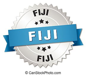 Fiji round silver badge with blue ribbon