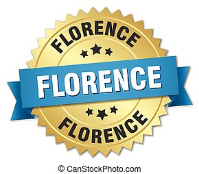 Florence round golden badge with blue ribbon