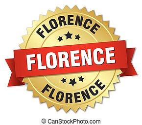 Florence round golden badge with red ribbon
