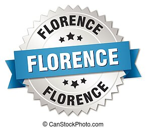 Florence round silver badge with blue ribbon