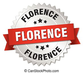Florence round silver badge with red ribbon
