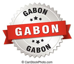 Gabon round silver badge with red ribbon