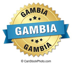 Gambia round golden badge with blue ribbon