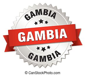 Gambia round silver badge with red ribbon
