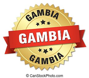 Gambia round golden badge with red ribbon