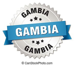 Gambia round silver badge with blue ribbon