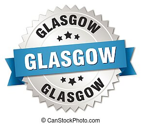 Glasgow round silver badge with blue ribbon