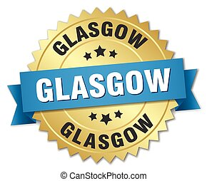 Glasgow round golden badge with blue ribbon