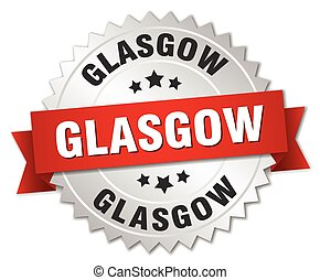 Glasgow round silver badge with red ribbon