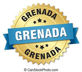 Grenada round golden badge with blue ribbon