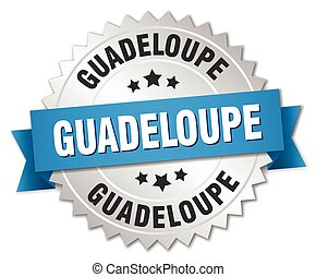 Guadeloupe round silver badge with blue ribbon
